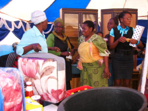 Giving gifts at a women's society function