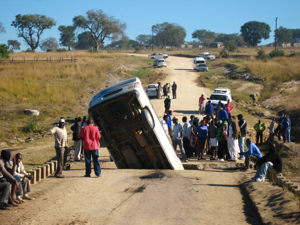 A taxi fell through the bridge near our village.