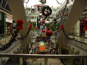 A mall in the capital city decorated for Christmas