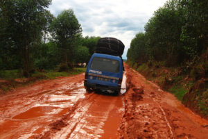 "A ""taxi-brousse"" struggling along on one of the ""easier"" roads in central/north Madagascar."