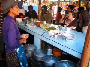 A typical &quot;hotely gasy&quot; in the middle of the market in town.  It's the Malagasy equivalent of a diner.  They sell good, cheap food and there are always plenty of Malagasy people around!