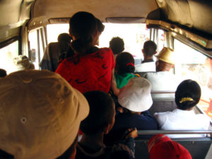 "The ""taxi be"" public transport in most towns and cities of Madagascar. The seats are tiny and there's always more people standing in the aisles! But also practical, cheap, and we get to meet a lot of people that way."