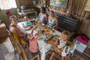 Our friend Nuckiline (sitting next to Lora) celebrating Christmas with us at our house. We were very happy to have her on Nosy Mitsio with us for the last month!