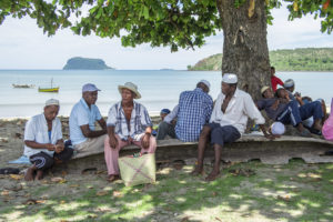 A bunch of the men after a funeral for a headman in southern Nosy Mitsio, waiting to sail back to our villages in northern Nosy Mitsio.