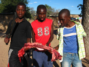 boys with rib meat of hippo