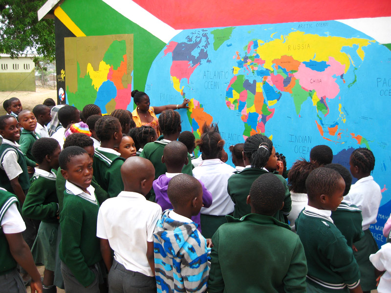world map mural at Mahlahluvana