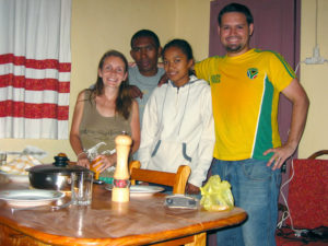 Enjoying a meal at our house with our friends Tahina and Lanja.