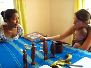 One of our first Malagasy language lessons - learning new words by sound and identifying the objects when our teacher, Fanja, says them.