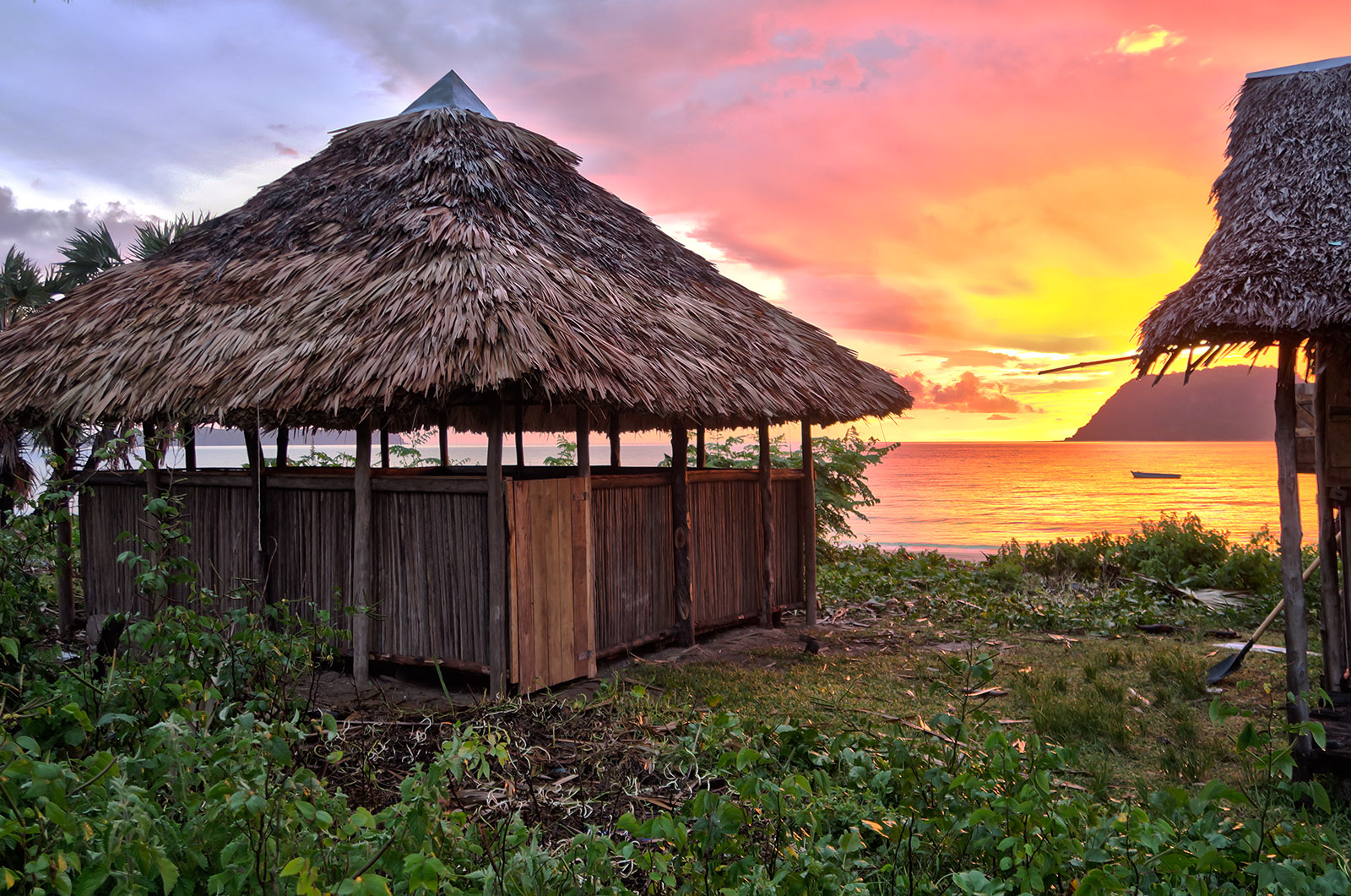 Our newly rebuilt team meeting hut in front of a beautiful Nosy Mitsio sunset. We believe good things are on their way!