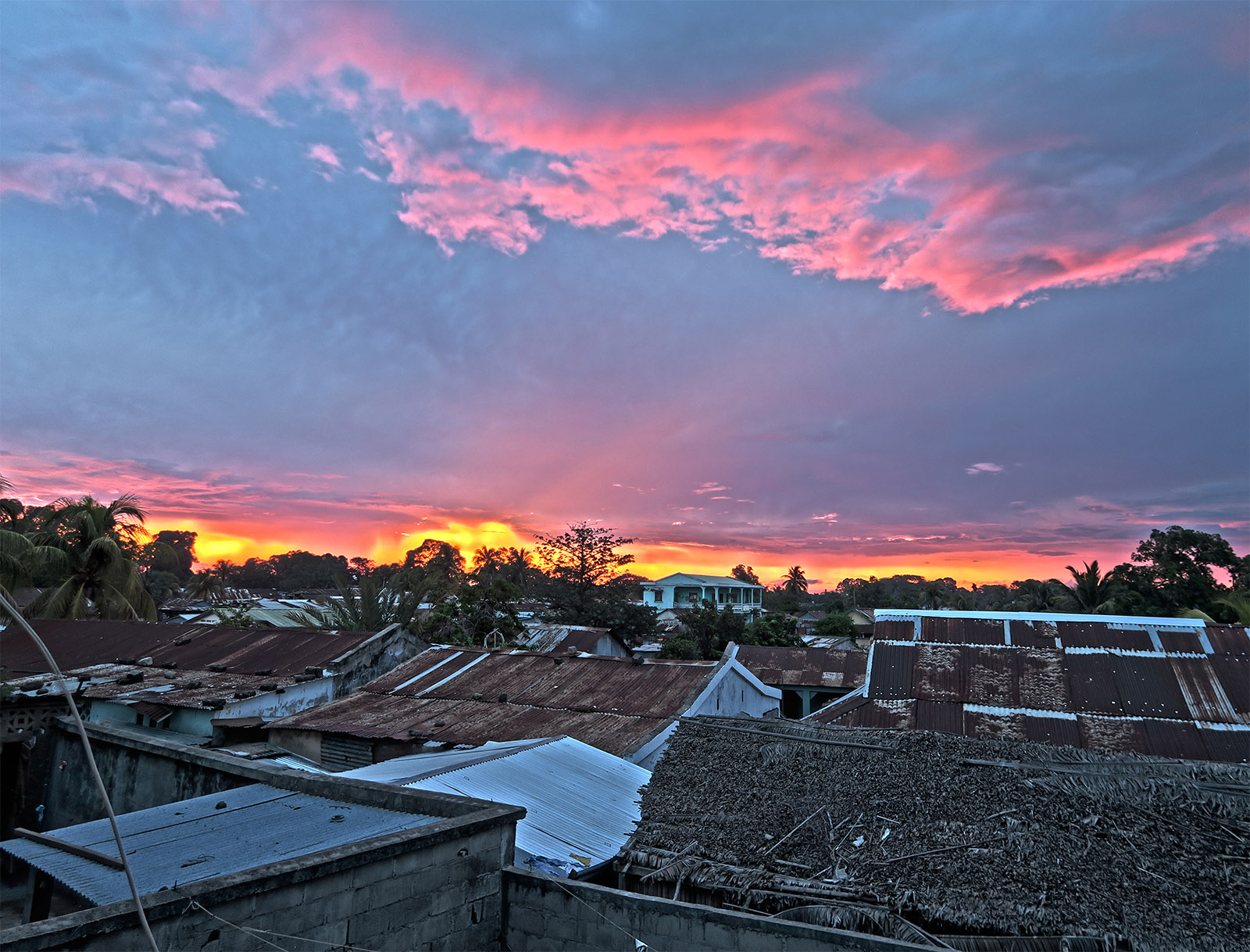 Sunset over the rooftops in Ambilobe