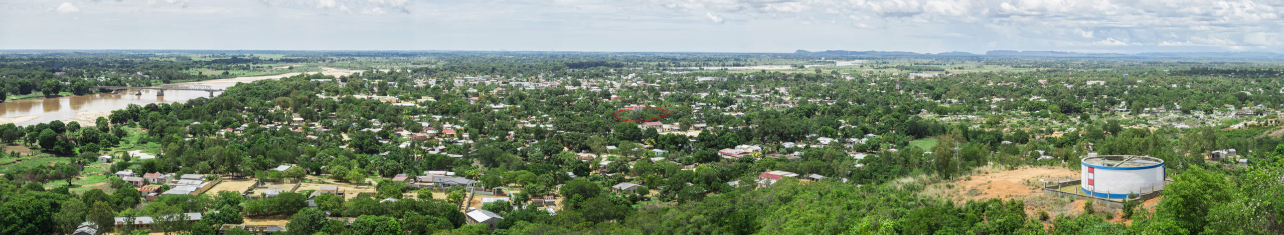 A panorama of Ambilobe taken from the hills on the south side of town.  If you look at it closely, you can see the red circle I marked on it... our house is somewhere there behind those trees.  Very near the middle of town!