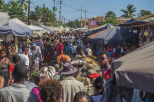 The busy market in Ambilobe!  This was before covid-19 restrictions. Now, most people wear a mask, but the market is still just as full of people!